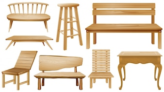 Different designs of wooden chairs