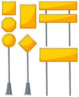 Different designs of yellow signs