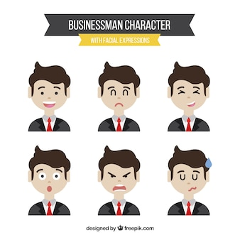ビジネスマンのセットの異なる表現