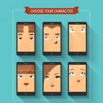 Different faces on the screen of a mobile phone
