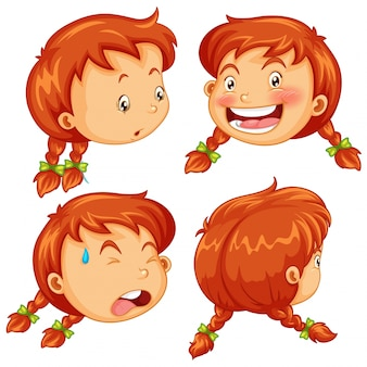 Different facial expressions of little girl illustration
