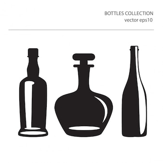 Different icons of silhouettes of bottles