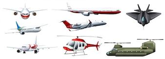 異なる種類の戦闘ジェットのイラスト
