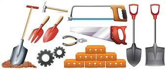 さまざまな種類の建設ツールのイラスト