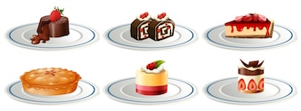 Different kinds of desserts on plates illustration