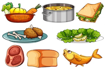 Different kinds of food and snack illustration