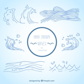 Different kinds of hand-drawn waves