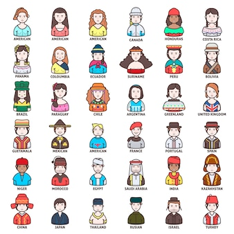 Different nationality people icon collection