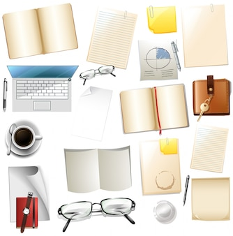 Different office supplies on white background