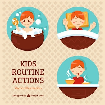Different panels of kids routine actions