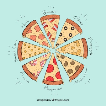 Different pieces of hand drawn pizzas background