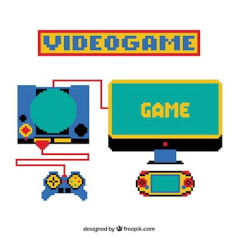 Different pixelated consoles