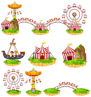 Different rides at amusement park