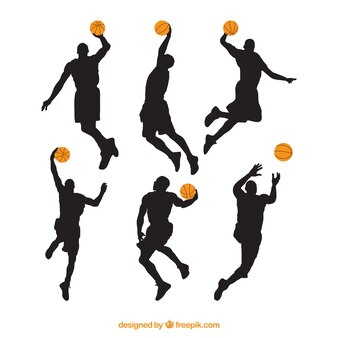 Different silhouettes of basketball players