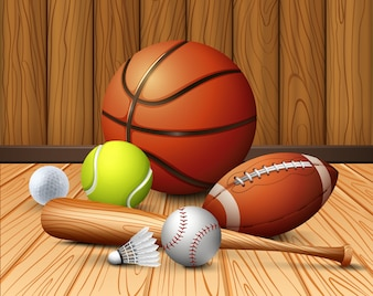Different sport equipments on the floor illustration