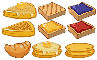 Different types of bread for breakfast illustration