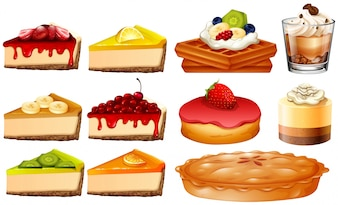 Different types of cakes and pie illustration