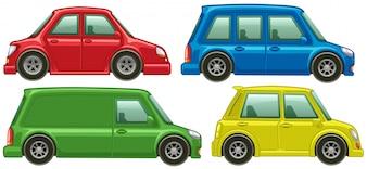 Различные типы автомобилей в четырех цветах