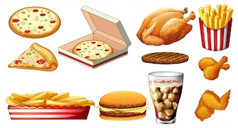Different types of fastfood and drink illustration