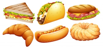 Different types of fastfood illustration