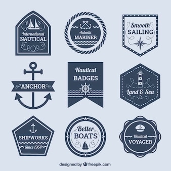 Different types of nautical badges with geometric shapes