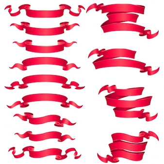 Different types of red ribbons