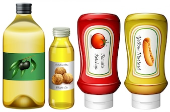 Different types of sauces and oil