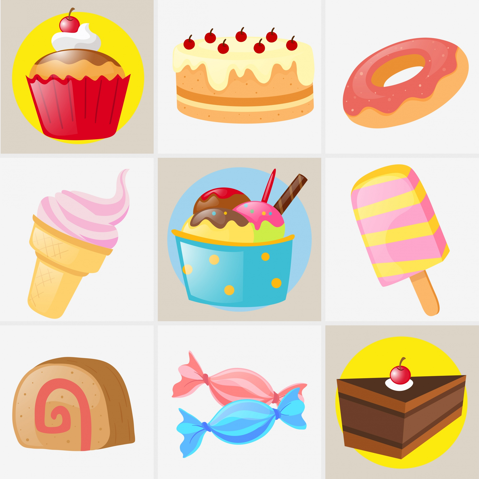 Different types of sweet desserts