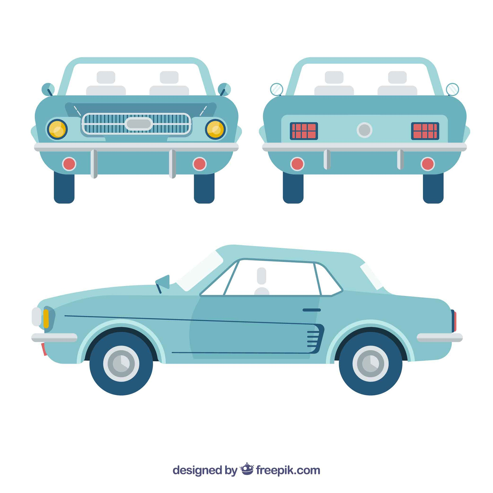 Different views of vintage car