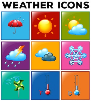 Different weather icons on color background