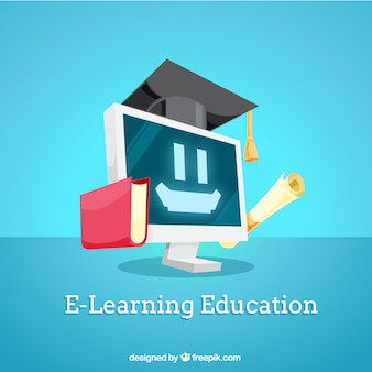 Digital education background with smiling computer