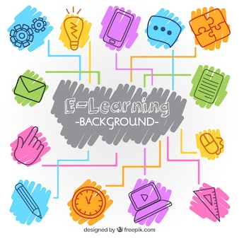 Digital learning background with colorful elements