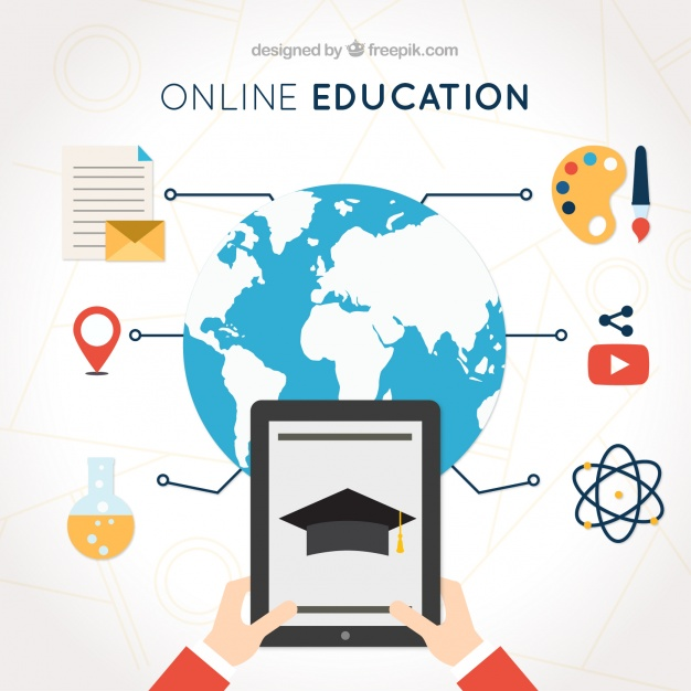 Digital learning background with tablet and educational items