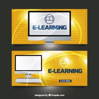 Digital learning banners with orange backgrounds