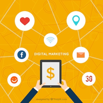 Digital marketing background with icons and white circles