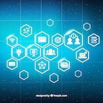 Digital marketing background with shiny icons