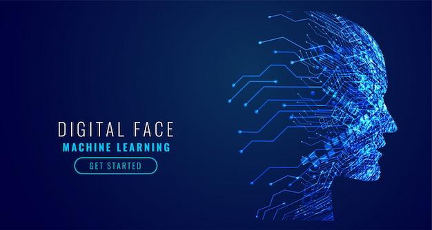Digital technology face artificial intelligence