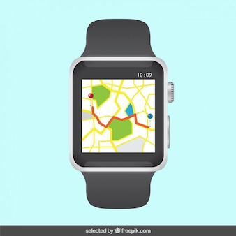 Digital watch with streetmap on the screen