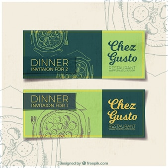Dinner invitation banners with sketches