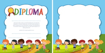 Diploma and border template with happy kids in park