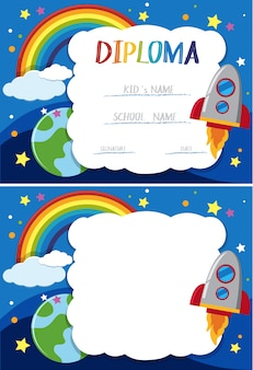 Diploma and card template with rocket in sky