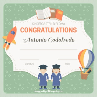 Diploma of children with childish elements