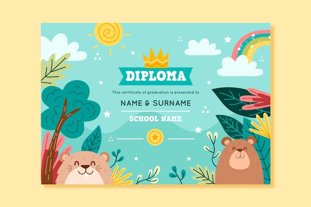 Diploma template for kids with animals and nature