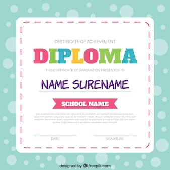Diploma template with colorful letters
