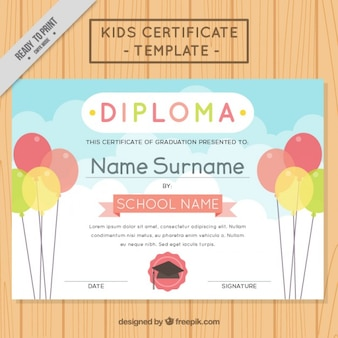Diploma with balloons for children
