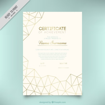 Diploma with golden geometric shapes