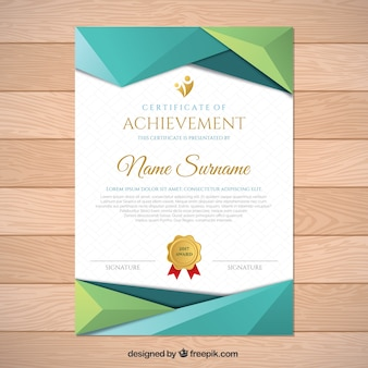 Diploma with polygonal shapes