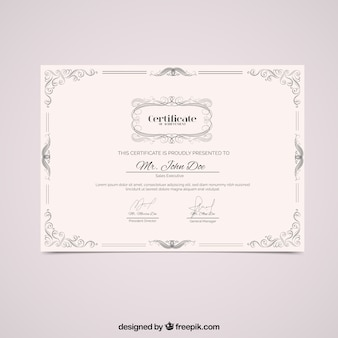 Diploma with vintage ornamental frame