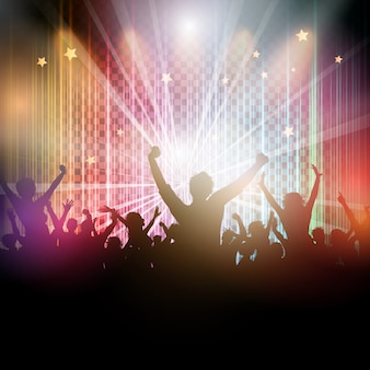 Disco background with party crowd silhouette