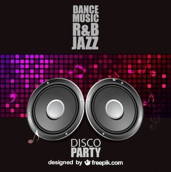 Disco party poster with speakers